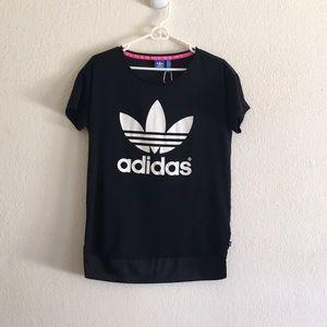 Adidas Trefoil Satin Tee Shirt Top In Size XS